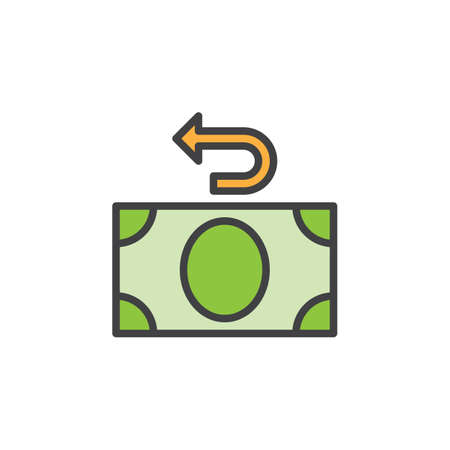 pixel perfect: Money refund line icon, filled outline vector sign, linear colorful pictogram isolated on white. Cashback symbol, logo illustration. Editable stroke. Pixel perfect