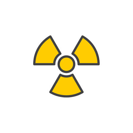 radiactividad: Radiation Symbol line icon, filled outline vector sign, linear colorful pictogram isolated on white. Logo illustration. Editable stroke. Pixel perfect