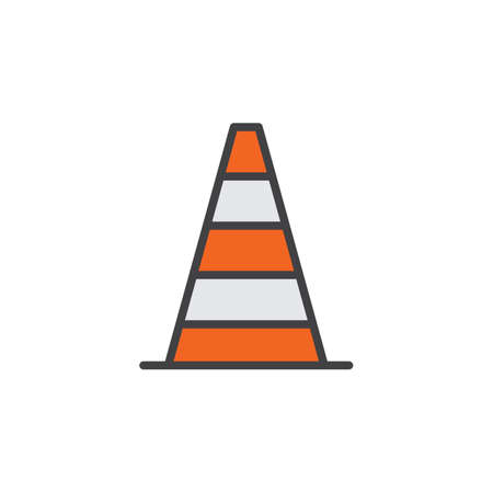 Pylon, traffic cone line icon, filled outline vector sign, linear colorful pictogram isolated on white. Symbol, logo illustration. Editable stroke. Pixel perfect