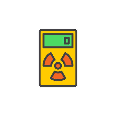 geiger: Geiger counter line icon, filled outline vector sign, linear colorful pictogram isolated on white. Radiation measurement device symbol, logo illustration. Editable stroke. Pixel perfect