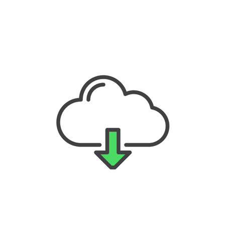 pixel perfect: Cloud download line icon, outline vector sign, linear style pictogram isolated on white. Symbol, logo illustration. Editable stroke. Pixel perfect Illustration