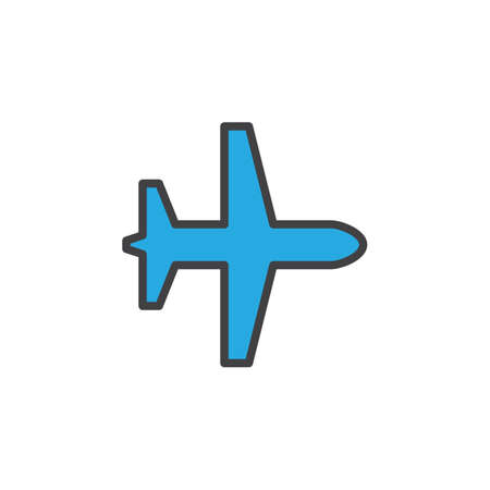 Plane, airplane mode filled outline icon, line colorful vector sign, linear style pictogram isolated on white. Symbol, logo illustration. Editable stroke. Pixel perfect