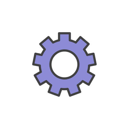pixel perfect: Gearwheel, settings filled outline icon, line vector sign, linear style pictogram isolated on white. Symbol, logo illustration. Editable stroke. Pixel perfect Illustration