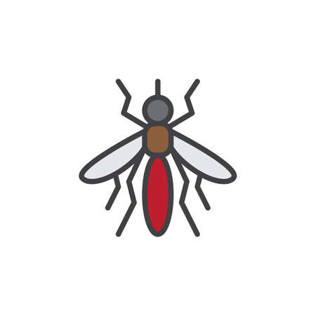 pixel perfect: Mosquito line icon, filled outline vector sign, linear colorful pictogram isolated on white. Symbol, logo illustration. Editable stroke. Pixel perfect