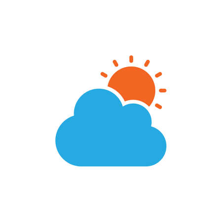 Cloud and sun icon vector, filled flat sign, solid colorful pictogram isolated on white. Partly cloudy weather symbol, logo illustration. Pixel perfect