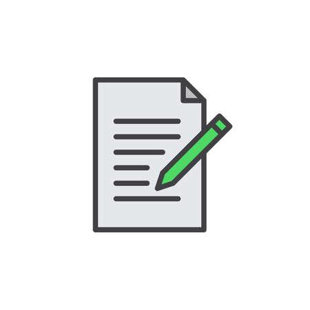 Icône de ligne de formulaire de contact. Écrire, modifier le vecteur de contour rempli signe, pictogramme coloré linéaire isolé sur blanc. Symbole, illustration de logo. AVC modifiable Pixel-parfait Banque d'images - 77011637