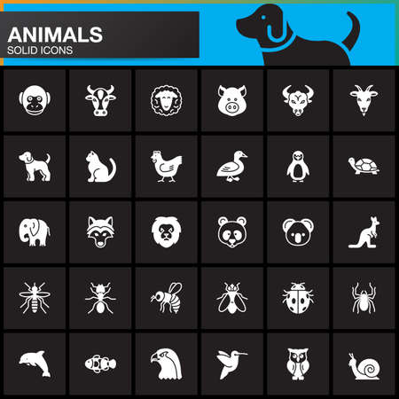 Animals vector icons set, modern solid symbol collection, filled pictogram pack isolated on black. Signs, logo illustration Illustration