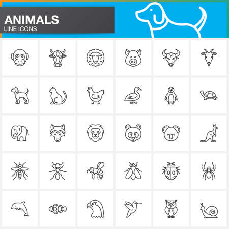 Animals line icons set, outline vector symbol collection, linear pictogram pack isolated on white. Signs, logo illustration Ilustração