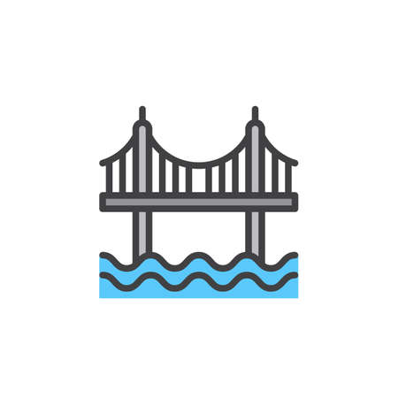 pixel perfect: Suspension bridge line icon, filled outline vector sign, linear colorful pictogram isolated on white. Symbol, logo illustration. Editable stroke. Pixel perfect