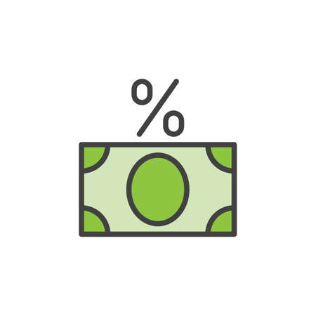 tax aligned: Money banknote with percent sign line icon, filled outline vector sign, linear colorful pictogram isolated on white. Fees symbol, logo illustration. Editable stroke. Pixel perfect