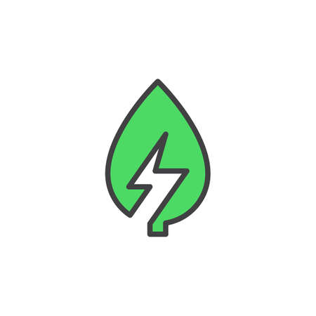 Leaf with lightning bolt line icon, filled outline vector sign, linear colorful pictogram isolated on white. Green energy symbol, logo illustration. Editable stroke. Pixel perfect Illustration