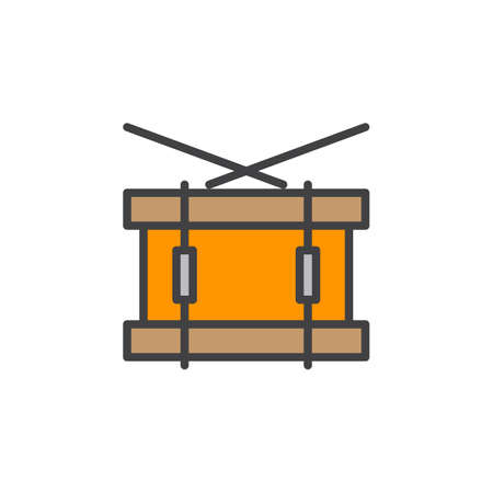 Snare drum line icon, filled outline vector sign, linear colorful pictogram isolated on white. Symbol, logo illustration. Editable stroke. Pixel perfect 向量圖像