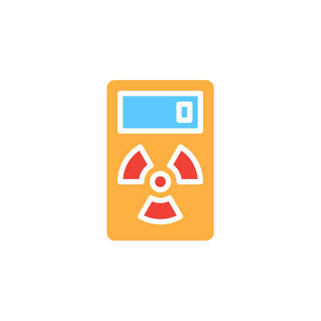 geiger: Geiger counter icon vector, filled flat sign, solid colorful pictogram isolated on white. Radiation measurement device symbol, logo illustration. Pixel perfect Illustration
