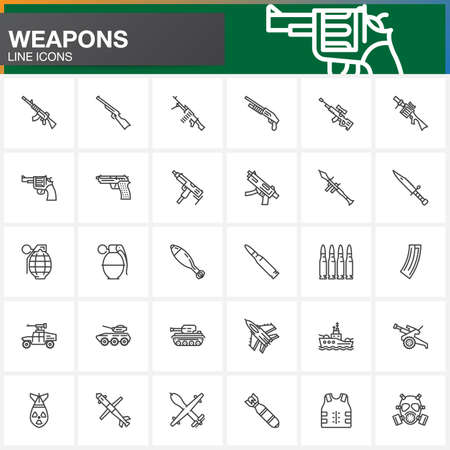 howitzer: Weapons line icons set, Arms outline vector symbol collection, linear pictogram pack isolated on white. Signs, logo illustration Illustration