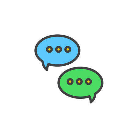 pixel perfect: Messages speech bubbles line icon, filled outline vector sign, linear colorful pictogram isolated on white. Symbol, logo illustration. Editable stroke. Pixel perfect