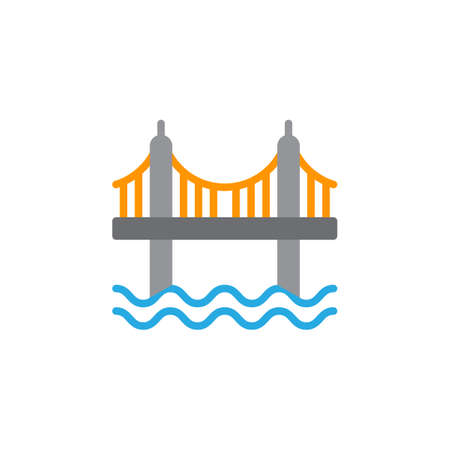 aligned: Suspension bridge icon vector, filled flat sign, solid colorful pictogram isolated on white. Symbol, logo illustration. Pixel perfect