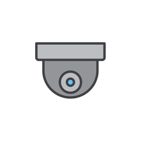 pixel perfect: Surveillance dome camera line icon, filled outline vector sign, linear pictogram isolated on white. Symbol, logo illustration. Editable stroke. Pixel perfect Illustration