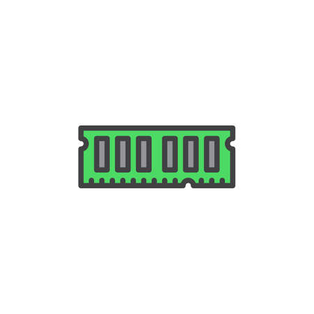 random access memory: RAM, random access memory line icon, filled outline vector sign, linear colorful pictogram isolated on white. Symbol, logo illustration. Editable stroke. Pixel perfect