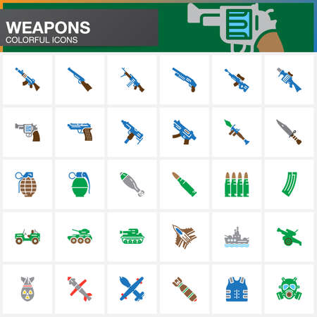 Weapons vector icons set, Arms solid symbol collection, filled pictogram pack isolated on white. Signs, colorful logo illustration