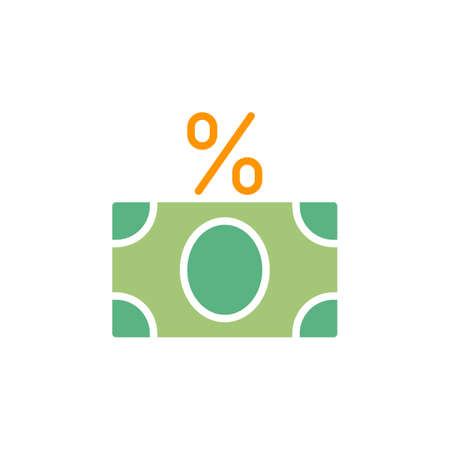 aligned: Money banknote with percent sign icon vector, filled flat sign, solid colorful pictogram isolated on white. Fees symbol, logo illustration. Pixel perfect