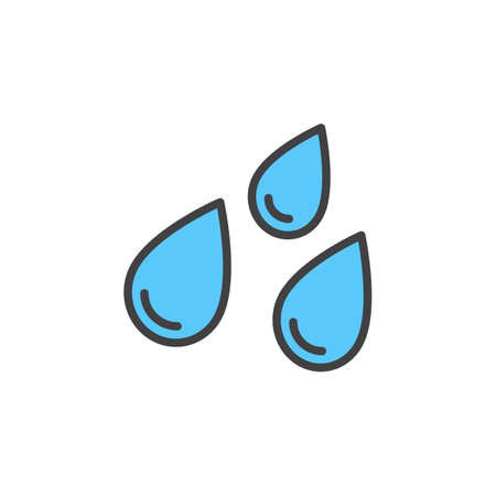 pixel perfect: Water drops line icon, filled outline vector sign, linear colorful pictogram isolated on white. Rain symbol, logo illustration. Editable stroke. Pixel perfect