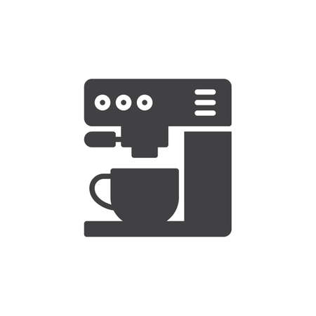 Koffie machine pictogram vector, gevulde vlakke bord, solide pictogram geïsoleerd op wit. Symbool, logo illustratie. Pixel perfect
