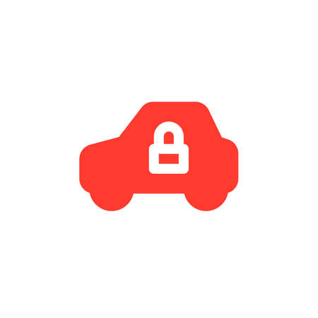 Vehicle and lock simple  icon vector, filled flat sign, solid colorful pictogram isolated on white. Car security symbol, logo illustration