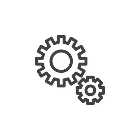 Gear, cogwheel line icon, outline vector sign, linear style pictogram isolated on white. Configuration, settings symbol, logo illustration. Pixel perfect