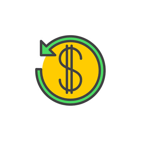 Dollar sign with arrow around line icon, filled outline vector sign, linear colorful pictogram isolated on white. Cashback symbol, logo illustration
