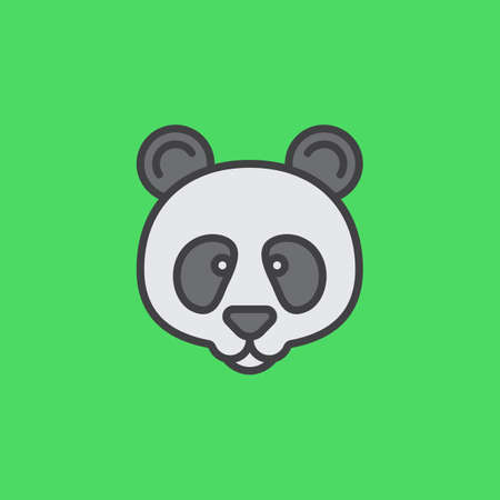 filled: Panda head line icon, filled outline vector sign, linear colorful pictogram isolated on green. Symbol, logo illustration