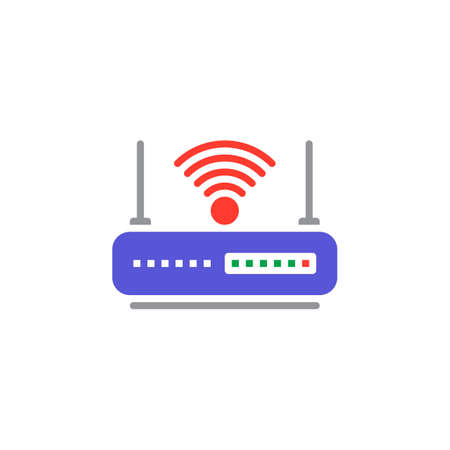 WIFI router icon vector, filled flat sign, solid colorful pictogram isolated on white. Internet hotspot symbol, logo illustration Illustration