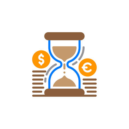 filled: Hourglass and coins icon vector, filled flat sign, solid colorful pictogram isolated on white. Time is money symbol, logo illustration