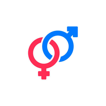 Heterosexual Gender Symbol Line Icon Male And Female Filled