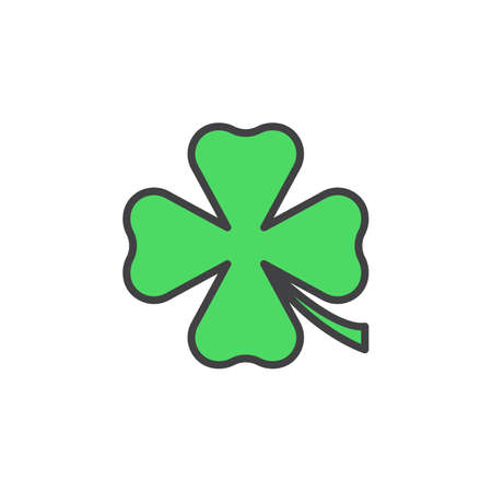 st  patrick's day: Clover line icon, filled outline vector sign, linear colorful pictogram isolated on white. St Patricks day symbol, logo illustration