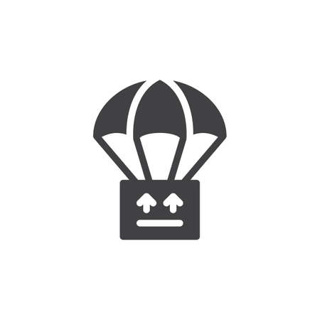 aligned: Parachute with parcel, box icon vector, filled flat sign, solid pictogram isolated on white. Drop shipping symbol, logo illustration. Pixel perfect