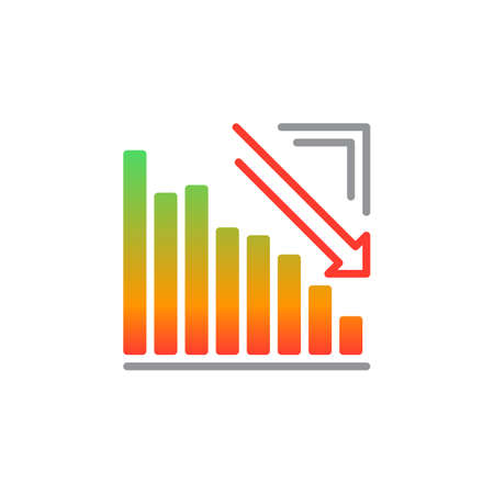 Arrow graph going down icon vector, filled flat sign, solid colorful pictogram isolated on white. Crisis symbol, logo illustration