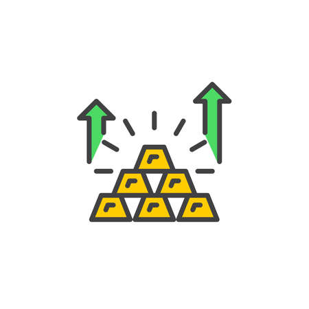 investment concept: Pyramid of gold bars line icon, filled outline vector sign, linear colorful pictogram isolated on white. Growing savings symbol, logo illustration Illustration