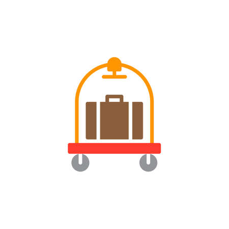 Baggage, luggage trolley icon vector, filled flat sign, solid colorful pictogram isolated on white. Hotel cart symbol, logo illustration