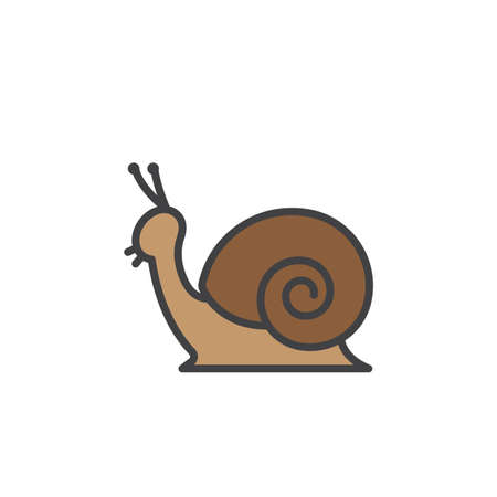 babosa: Snail line icon, filled outline vector sign, linear colorful pictogram isolated on white. Symbol, logo illustration Vectores