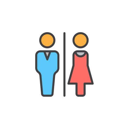 Mann- und Frauentoilettenlinie Ikone, gefülltes Entwurfsvektorzeichen, lineares buntes Piktogramm lokalisiert auf Weiß. WC, Wasserklosettsymbol, Logoillustration