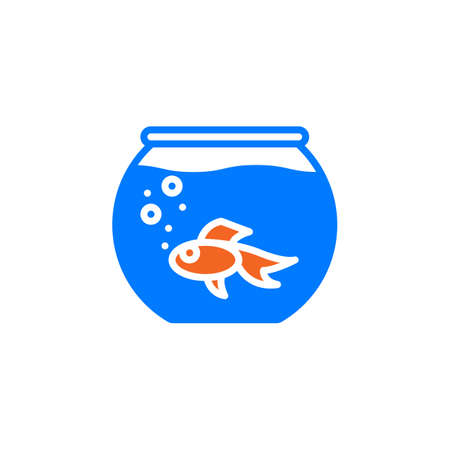 gold fish bowl: Aquarium with fish icon vector, filled flat sign, solid colorful pictogram isolated on white. Symbol, logo illustration