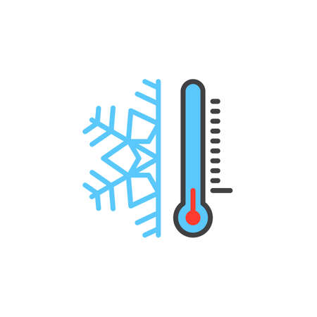 Thermometer and snowflake line icon, filled outline vector sign, linear colorful pictogram isolated on white. Cold temperature symbol, logo illustration