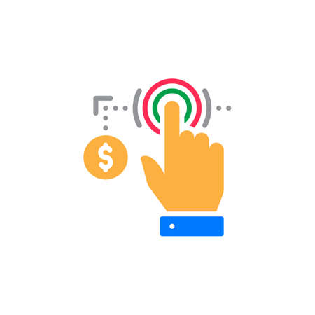 Hand using touch screen and coin icon vector, filled flat sign, solid colorful pictogram isolated on white. Pay per click symbol, logo illustration