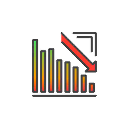 regress: Arrow graph going down line icon, filled outline vector sign, linear colorful pictogram isolated on white. Crisis symbol, logo illustration
