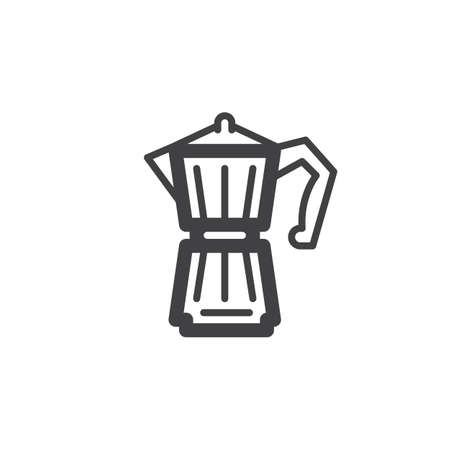 Geyser Coffee Maker line icon, outline vector sign, linear pictogram isolated on white. Symbol, logo illustration Иллюстрация