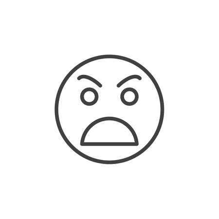 awkward: Grimacing angry face line icon, outline vector sign, linear style pictogram isolated on white. Awkward symbol, logo illustration. Editable stroke. Pixel perfect