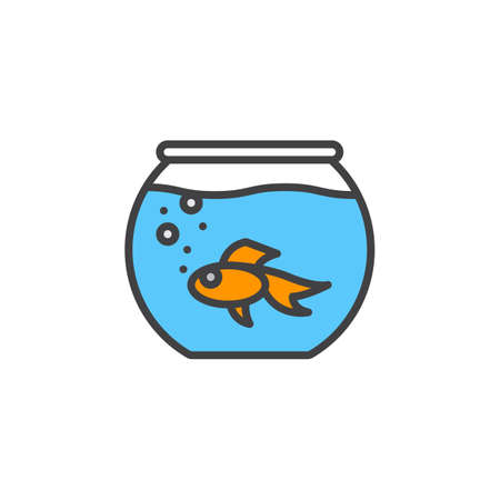 gold fish bowl: Aquarium with fish line icon, filled outline vector sign, linear colorful pictogram isolated on white. Symbol, logo illustration