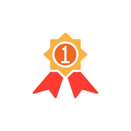 Première place vecteur d'icône de médaille, rempli de signe plat, pictogramme coloré solide isolé sur blanc. Meilleur symbole de produit, illustration de logo Banque d'images - 77418229
