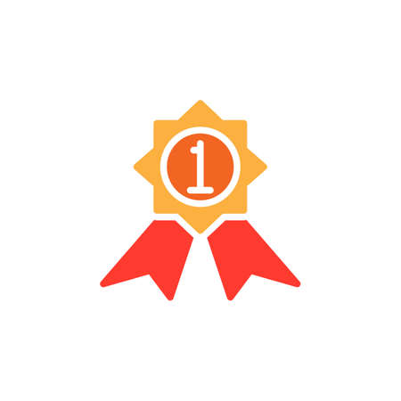 First place medal icon vector, filled flat sign, solid colorful pictogram isolated on white. Best product symbol, logo illustration Vettoriali