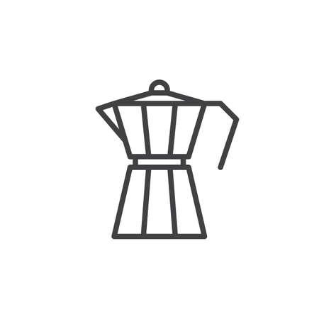 Moka pot, macchinetta line icon, outline vector sign, linear style pictogram isolated on white. Symbol, logo illustration. Editable stroke. Pixel perfect